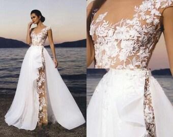 Neras - Nuage Volant Sheath Lace Wedding Dress/ Detachable Skirt /Poshfair