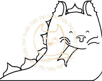 Digi Stamp Instant Download. Katmodo Dragon - Knitty Kitty Digis No. 62