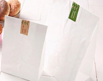 30 Basic White Paper Bags - L size (7.1 x 14in)