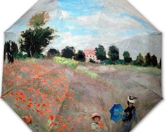Foldable umbrella - painter MONET: Field of poppies