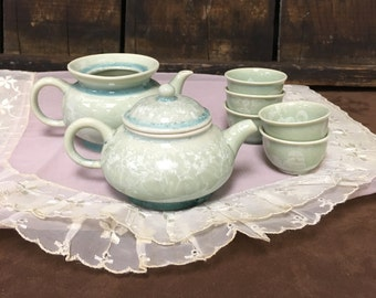 Rare 1950s Teal-Glazed Yixing Chinese Tea Set