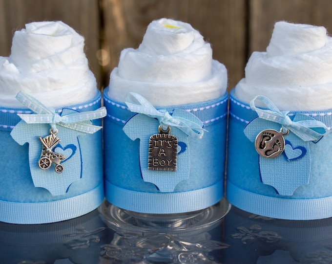 Featured listing image: Mini Diaper Cupcakes - Baby Boy Baby Shower Favor - It's a boy Baby Shower Gift - Diaper Cake - It's a Boy - Baby Cakes - Baby Shower