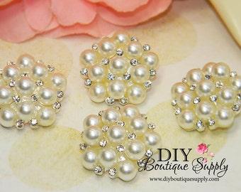 Beautiful Pearl Rhinestone  buttons Flatback Bridal Supplies flower centers Baby Headbands invitations crystal bouquet  5 pcs 23mm 154065