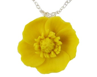 Yellow Buttercup Necklace - Buttercup Jewelry, Yellow Buttercup