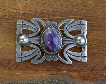 Vintage Taxco Sterling Silver with Amethyst Brooch