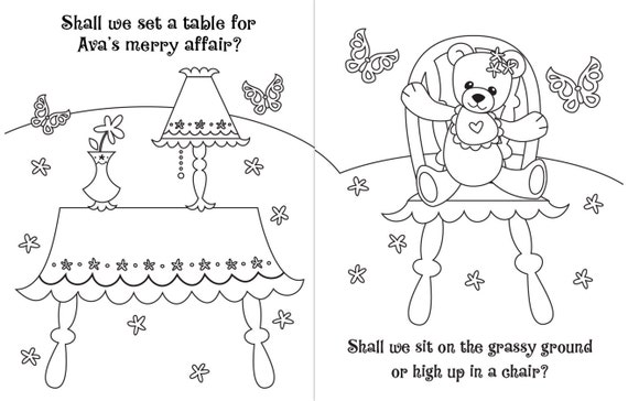 Personalized Tea Party Coloring Book. A Custom Coloring Book
