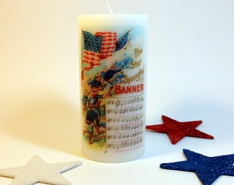 American Flag 4th of July Candle, Patriotic Centerpiece, Patriotic Decor, Red White and Blue, 4th of July Decor, Americana Decor, July 4th
