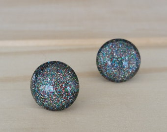 Galaxy Glitter Earrings, Titanium Posts, Glitter Studs, Sparkly Studs, Hypoallergenic Studs, Bridesmaid Gift, Sensitive Ears, Colorful Studs