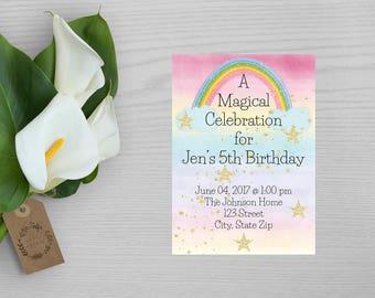 Magical Celebration Birthday Party Invitation-Girls Birthday Party Invitation-Rainbow Party Invitation-Girls Magic Party Invitation
