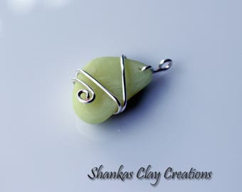 Polymer Clay Faux Sea Glass wire wrapped yellow