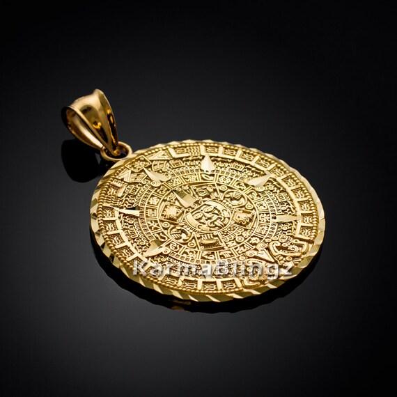 14k gold aztec mayan sun calendar pendant 3 sizes yellow aloadofball Image collections