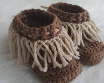 Brown Moccasin Boots with Tan Fringe