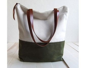 Large zippered Waxed Canvas Tote natural canvas Brown Leather Straps Handmade Shoulder Tote Bag