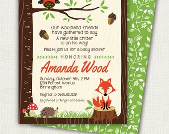 WOODLAND baby shower invitation, forest animals, wood grain Digital, Printable file, owl and fox  shower  party, woodland, hoot in tree