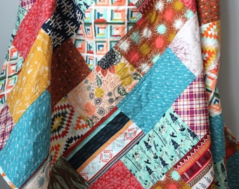 Modern Throw Quilt-Indie Quilt-Boho Quilt-Modern Lap Quilt-Homemade Quilt-Handmade Lap Quilt-Bohemian Decor-Bohemian Quilt-Earthy Home Decor
