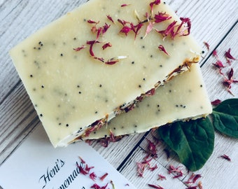 Natural Handmade Soap, Poppy Seed Soap, Beer Soap, Exfolating Bar Soap, Aromatherapy soaps, Vegan soap, Natural Skincare, Paraben FREE, 100g