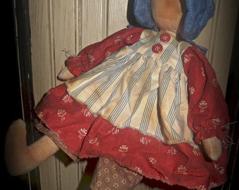 "Primitive ""Plain Jane"" instant download prairie doll epattern, Primitive Patterns"
