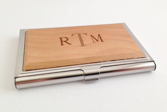 Personalized business card case wood custom wood business personalized business card case wood custom wood business card case monogram card case gift for boyfriend birthday colourmoves Images