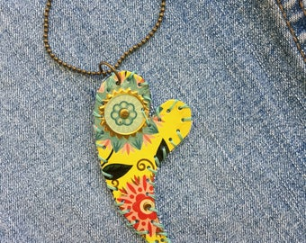 """Tin Jewelry Heart Necklace #1 """"Tin and Denim"""" Tin for the Ten Year Tenth Wedding Anniversary"""