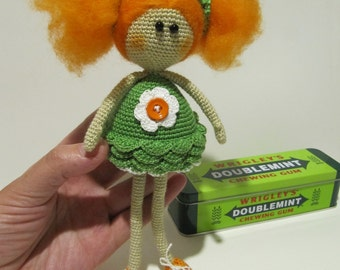 Art doll redhair best gift for her redhead dolly ginger Fairy green Orange Home decor birthday gift for girl miniatures dolls irish gifts