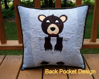 Cozy Bear Denim Pillow Pattern Quilted Applique Pillow with Panda Option made with Upcycled Recycled Denim Jeans