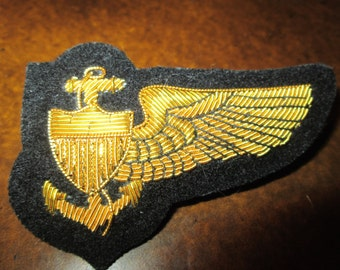 WWI-WWII Navy Pilot Wing Gold wire Bullion on wool