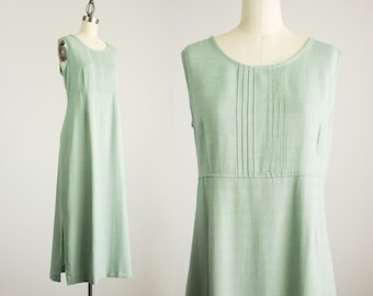 90s Vintage Sage Mint Maxi Sun Dress / Size Medium