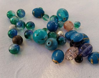 set of 33 blue and turquoise plastic beads