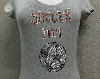scoop neck Gray Soccer mom tshirt