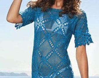 Crochet dress beach wear beach tunic made to order FREE SHIPPING