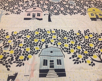 Cotton Fabric white black Trees blue yellow pink Houses Apples Cotton Fabric Kids Fabric Europe Design Kids Textile