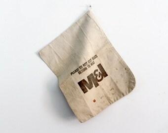 vintage bank bag, canvas money bag, typography textile