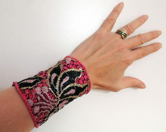 Lace and crochet pink and black cuff