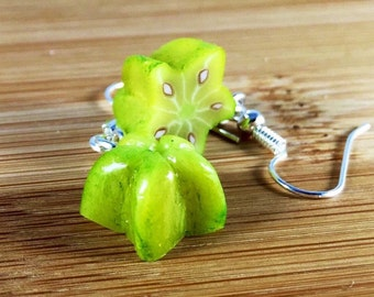 Exotic starfruit polymer clay charm earrings or key ring