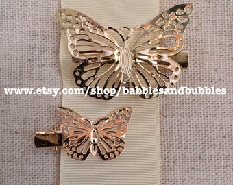 BOHO Vintage-Style Gold or Black Plate Butterfly Hair Clips - Next Day Shipping
