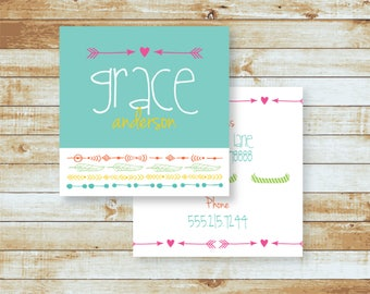 Personalized Calling Cards / Camp Cards / Love & Arrows