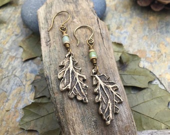 Leaf Earrings, Oak Leaf Earrings, Connemara Marble, Celtic Jewelry, Bronze Leaves, Druid Tree Jewelry, Oak Leaf Jewelry, Pagan, Wicca, Oak