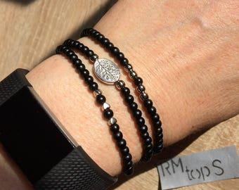 Bracelet matte black silver heart charm beads branch 3 variations, bracelet matte black silver beaded heart charm twig 3 variations