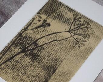 A5 Botanical 'ghost' mono print: Dill stem