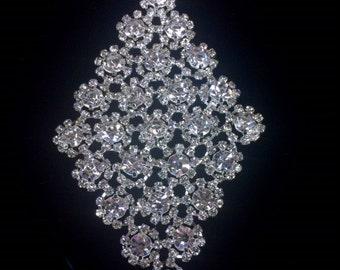 Diamond Shaped, Crystal rhinestone applique, wedding applique, beaded crystal patch, wedding sash