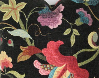 RICHLOOM GLORIA PRISM--Decorative Designer Linen Fabric --Multi Floral Print- Black/blue/berry/Green/ ivory Throw  Pillow