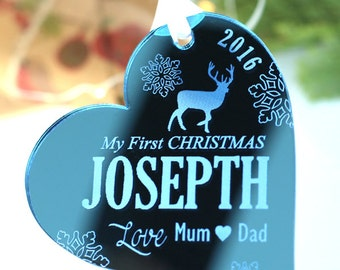 My First 1st Christmas Decoration, Baby's First Christmas Ornament, Rustic Christmas Bauble Gift, Personalised Baby Gift, Couples First Xmas