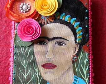 Original Mixed Media Painting of Frida Kahlo with Fabric Flowers and Liquid Pearls by Jeanne Fry