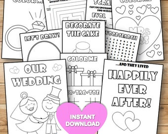 Kids Wedding coloring & activity book- INSTANT DOWNLOAD - Pdf Reception Game,Coloring pages,Printable activity U.S Spelling