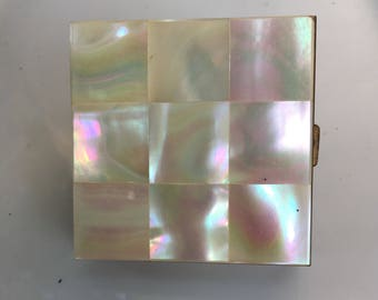 Mother of Pearl Tiled, Vintage Ladies Powder and Lipstick Compact Mirror