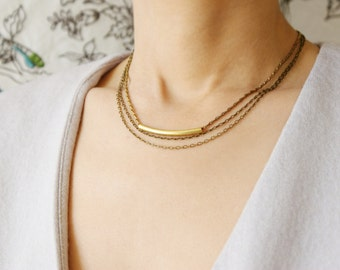 Layered chain necklace, curved tube necklace, minimal brass jewelry, layer look, Layering necklace