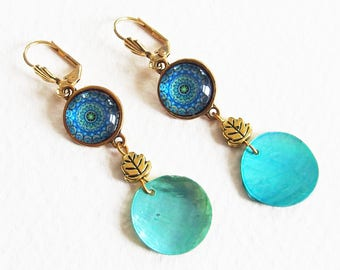 Boucles d'Oreilles Nacre Mandala Bleu - Perles, Cabochon, Métal doré, Dormeuses - Bijou créateur, fait-main, pièce unique