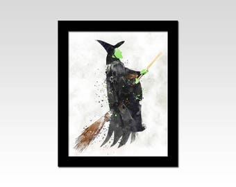 The Wizard of Oz inspired Wicked Witch of the West watercolour effect print