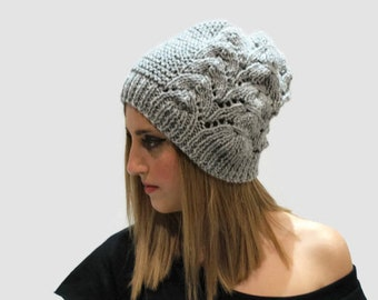Gray knit lace hat/ women gray alpaca hat/ knit slouchy hat/ handknitted women hat/gift fo her/ custom color hat/ knit beanie hat/ wool hat