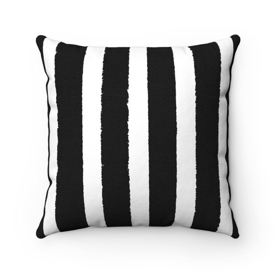 Black and White Striped Throw Pillow . Black and White Pillow . Black Striped Pillow . Black and White Lumbar Cushion 14 16 18 20 26 inch